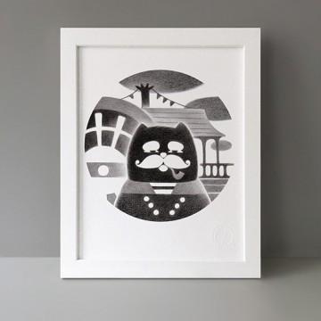 Vintage Moustache Cat print