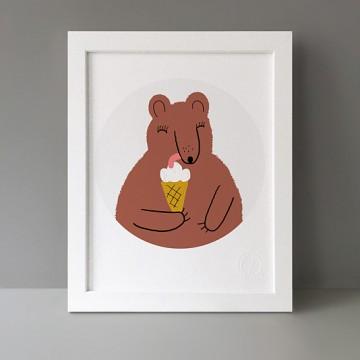 Bear With Ice Cream print