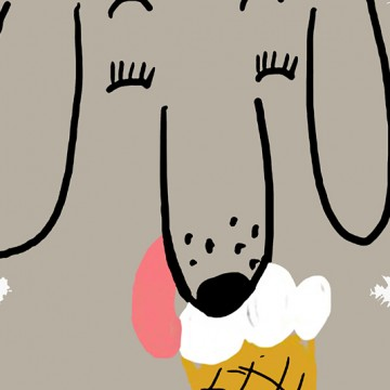 Dog With Ice Cream print