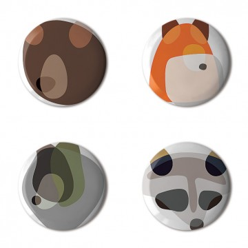 Gift Box: 4 button badges (Animal Shapes)