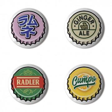 Gift Box: 4 button badges (Crown Cork Bottle Caps)