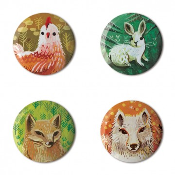 Gift Box: 4 button badges (Animal Portraits)