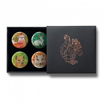 Gift Box: 4 button badges (Animal Portraits)