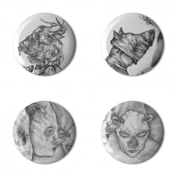 Gift Box: 4 button badges (Surreal Masks)