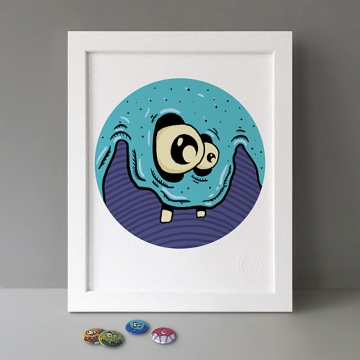 Blue Monster print