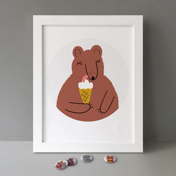 Bear With Ice Cream print