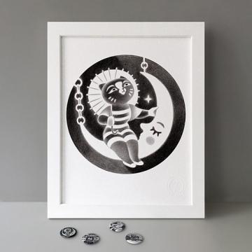 Vintage Moon Cat print
