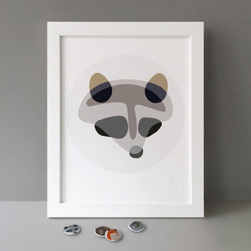 Raccoon Shapes print