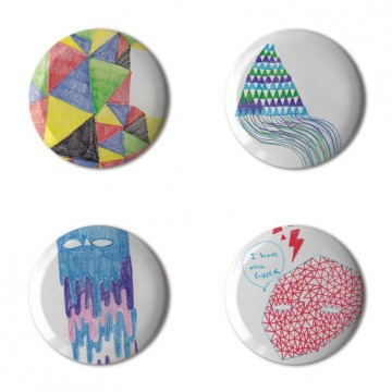 Gift Box: 4 button badges (Doodle Patterns)