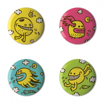 Gift Box: 4 button badges (Colour Monsters)