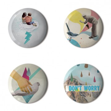 Gift Box: 4 button badges (Retro Collages)