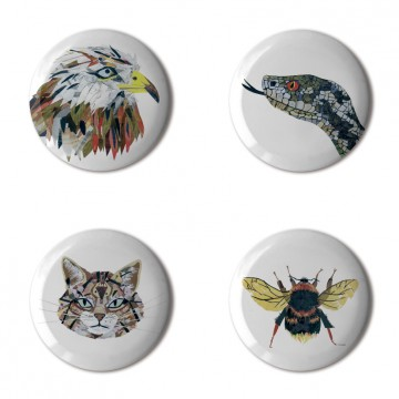 Gift Box: 4 button badges (Animal Collages)