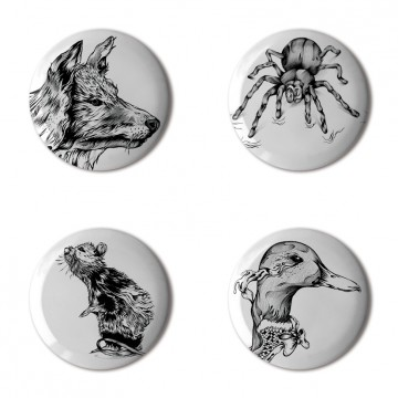 Gift Box: 4 button badges (Animal Drawings)