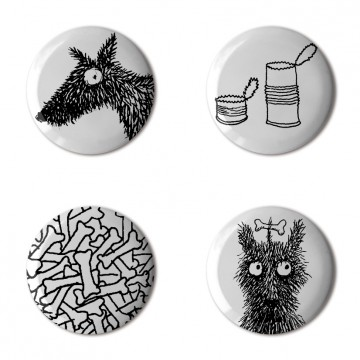 Gift Box: 4 button badges (Whoof)