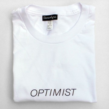 Optimist (unisex) T-shirt + badge
