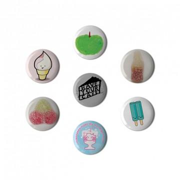 Button badge gift box - Dessert
