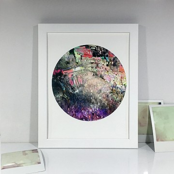 Glitch 2 (Grey, Red, Purple) print