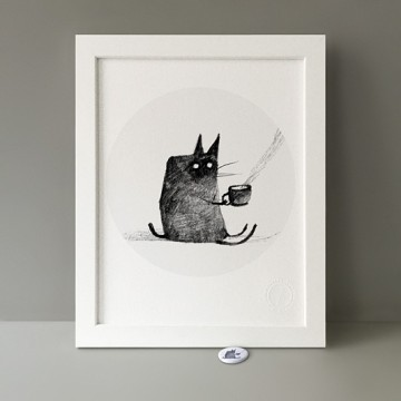 Tea-Drinking Cat print