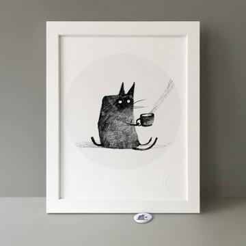 Tea-Drinking Cat print