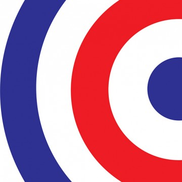 Blue Red Target print