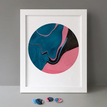 Blue Black Pink print