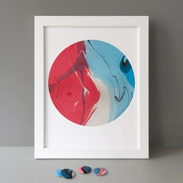 Cyan Blue White Pink print