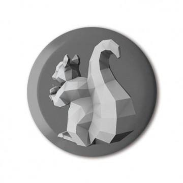 Squirrel 4 (polygon, silver, back, left) print