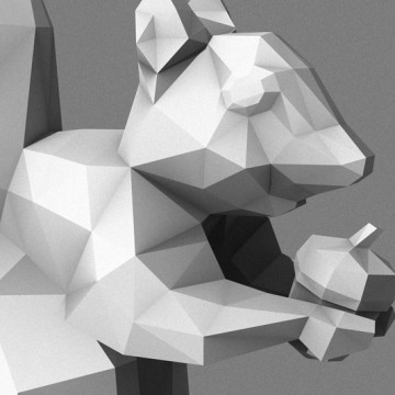 Squirrel 4 (polygon, silver, front, right) print