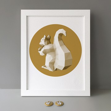 Squirrel 4 (polygon, gold, back, left) print