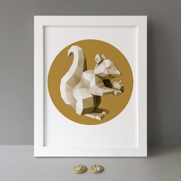 Squirrel 4 (polygon, gold, front, right) print