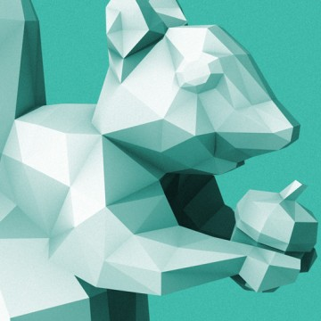 Squirrel 4 (polygon, patina, front, right) print