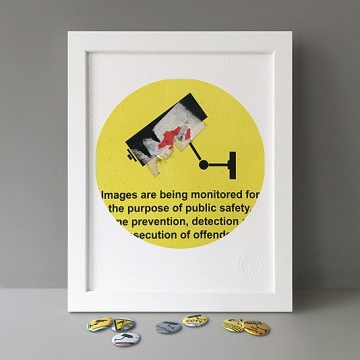 CCTV Sign 5 (yellow, sticker) print