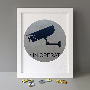 CCTV Sign 7 (grey, left) print
