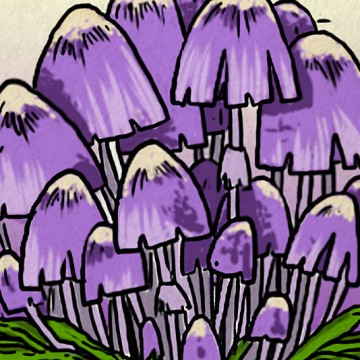 Purple Mushrooms print