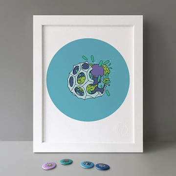 Radiolaria Cyan print