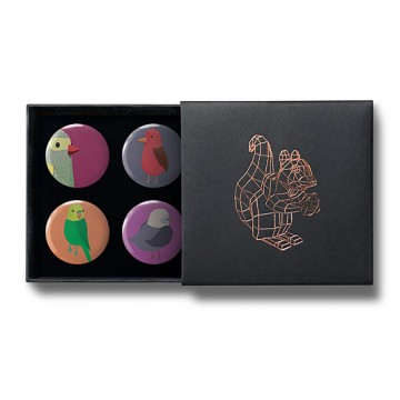 Gift Box: 4 button badges (Birds)