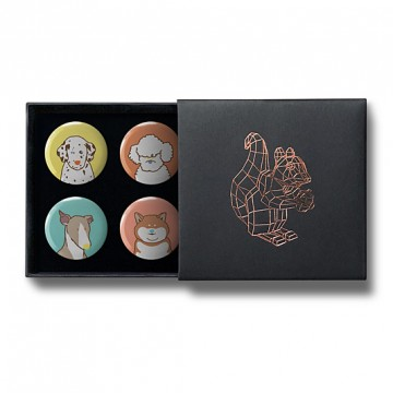 Gift Box: 4 button badges (Puppies)