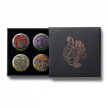Gift Box: 4 button badges (Mushrooms)