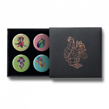 Gift Box: 4 button badges (Jelly Fish)