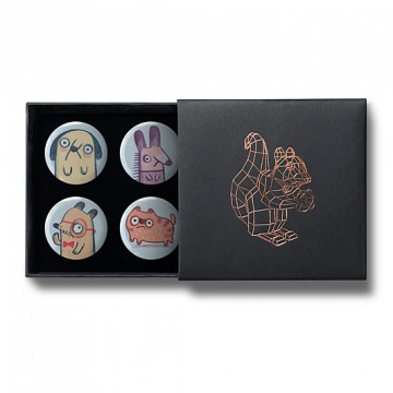 Gift Box: 4 button badges (Sad Animals)
