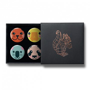 Gift Box: 4 button badges (Emoji Animal Heads)