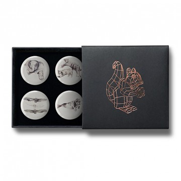 Gift Box: 4 button badges (Animals)