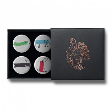Gift Box: 4 button badges (Minimal Animals)