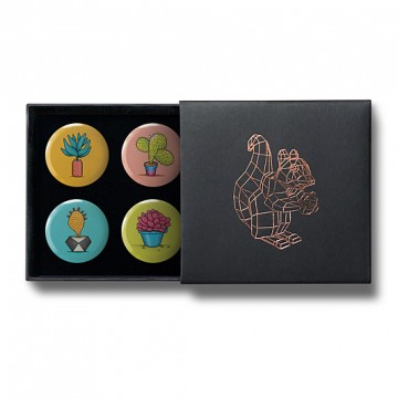 Gift Box: 4 button badges (Prickle Pots)