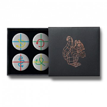 Gift Box: 4 button badges (Plus Arrows)