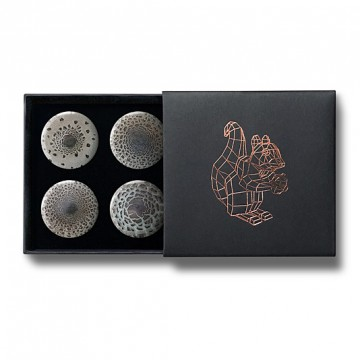 Gift Box: 4 button badges (Parasol Mushrooms)