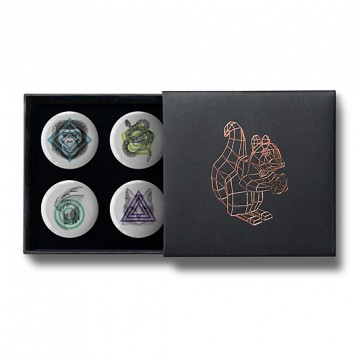 Gift Box: 4 button badges (Geometric Animals)