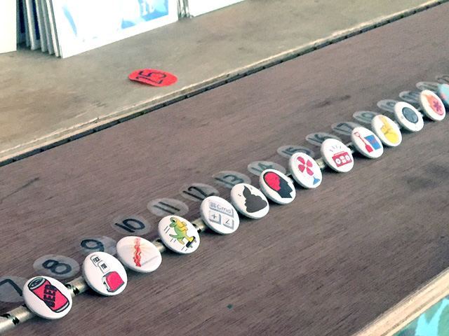 Emoji badges, The Story of Emoji book launch exhibition 2016