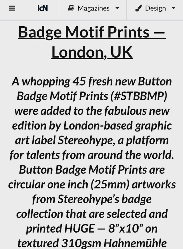 IdN - Button Badge Motif Prints are Pick of the Month