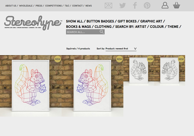 New Stereohype Squirrel mascot prints